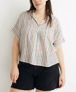 Madewell Palo And Antique Cream Stripe Banded-sleeve Button-up - Women Size M