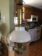 Antique Brass Aladdin Hanging Oil Lamp With Shade And Retractible Ceiling Holder