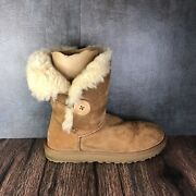 Ugg Womens Size 7 Bailey Tan Brown Button Suede Shearling Mid Flat Boots 1016226