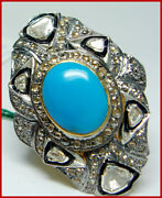 925 Sterling Silver Rose Cut Diamond Polki Ring Turquoise Antique Style Jewelry