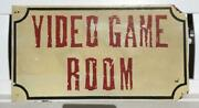 Genuine Vintage Wooden Original Hand Painted Video Game Room Pizza Joint Sign