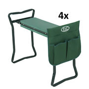 4x Foldable Kneeler Garden Bench Stool Soft Cushion Seat Pad Kneeling Tool Pouch