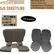 Seat Covers + Back Seat Foldable + Seat Belts Grey For Mercedes Sl R/w107