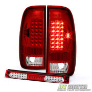 Fits 1997-2003 Ford 150 Red Clear Led Tail Lights+3rd Led Brake Cargo Stop Lamp