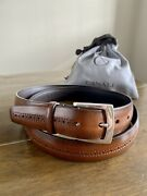 Canali Belt Brown Stitched 115/130 Solid Brass Buckle Italy Excellent Condition