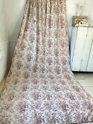 Antique French Madder Brown Curtain Drape Faded Floral C1880 Vintage