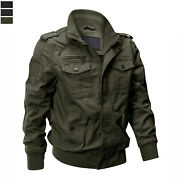 Menand039s Bomber Jacket Military Tactical Army Field Combat Cotton Coat Pilot Jacket