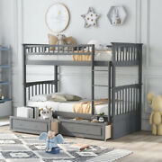 Twin Over Twin Bunk Bed With Drawers Convertible Beds Hot Sale Wood Bunk Bed