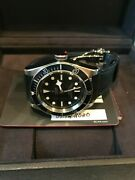 Tudor Black Bay Black Blue 79230b 41mm Aged Leather Strap Box And 2020 Papers