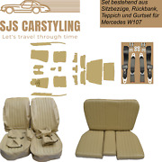 Seat Covers + Back + Carpet With Insulation + Belts Beige For Mercedes Sl R/w107