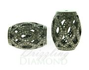 Natural Diamond 925 Sterling Silver Tumble Shape Filigree Beads Loose Findings