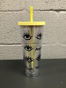 Rare Starbucks Venti 24oz Yellow Eyes Wink Lashes Cold Cup Tumbler Lid And Straw