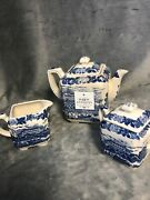 Unmarked Antique Transferware Blue And White Teapot Sugar And Creamer Set