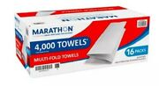 Marathon Multifold Paper Towels, White, 4000 Towels Per Case- Fast Shipping