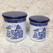 Vintage Rare 2pc Blue Willow Enamelware Canister Set 7in T And 6in T
