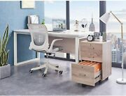 Mobile 3-drawer Rolling Wood File Cabinet With Lock Oak