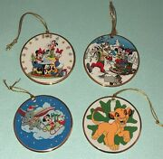 Lot Of 4 Disney Grolier Disc Ornaments And039tis The Season Ceramic Mickey Mouse
