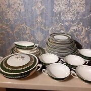 Vintage Myott Son And Co New Hampshire 2734 Bu Dinner Service Emerald Green And Gold