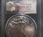 2013 American Silver Eagle 1 Dollar Coin. Pcgs Graded Ms70. Spots/toning