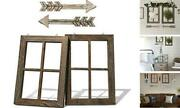 Rustic Wall Decor Wood Window Frames And Arrow Decor - Farmhouse Decoration Brown