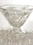 Anchor Hocking Early American Prescut Eapg Crystal Glass Punch Bowl And Stand Set
