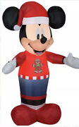 Disney Mickey Mouse Christmas Inflatable Airblown Gemmy 5 Ft Lights Up