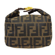 Fendi Zucca Pattern Mini Hand Bag Cosmetic Pouch Brown Canvas Leather 80199