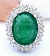 10.26ct Oval Cut Natural Emerald And Diamond Real Solid 14k White Gold Ring