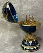 Faberge Egg Blue Globe With Surprise Ship 5.7. Russian