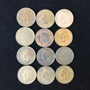 Indian Head Pennies 1905-1906 4 Sets Of Each Date Lot Of 12 Penny 1c Us Coin
