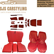Seat Covers + Back Seat Foldable + Carpet Set For Mercedes Sl R/w107, Red