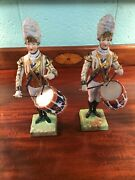 Dresden Figurine Pair Of Drummer Of 3rd Guards Porcelain 11 1/2
