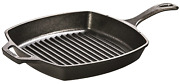 10.5 Inch, Lodge Pre-seasoned Cast Iron Grill Pan With Assist Handle, Black
