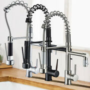Commercial Kitchen Sink Faucet With Sprayer Swivel Single Handle Pull Down Mixer