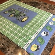 Vintage John Deere Pillowcase, Green Plaid, Tractor And Hats