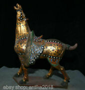 16.4 Old China Tang Sancai Gold Painting Pottery Palace Word Steed Horse Statue