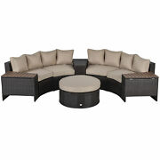 Outsunny 8 Pcs Patio Rattan Conversation Furniture Set W/ Side Table And Cushioned