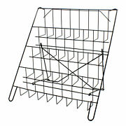 Card Rack Display Stand In Black - 4 Tier Wire Book Magazine Counter E8b
