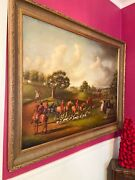 Large Historical English Fox Essex Hunting Oil Painting