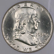 1954 D Franklin Silver Half Dollar Coin Full Bell Lines Ngc Ms65fbl