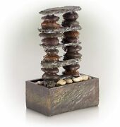 Contemporary Cascading Stacked Rocks Indoor/outdoor Tabletop Fountain 12h