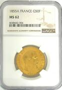 Ngc Certified 1855a France G50f Franc Ms 62 Gold .4667 Agw Slabbed Coin Round