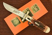 Marbles Amber Stagbone Bone Stag Jumbo Safety Folding Hunter Knife Nice
