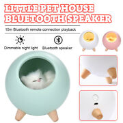 Led Cat House Bluetooth Speaker Touch Dimming Baby Kids Bedside Sleep Lamp Usa