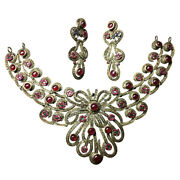 925 Sterling Silver Rose Cut Diamond Necklace Ruby Emerald Antique Style Jewelry