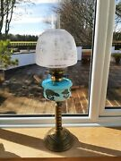 Brass Spiral Column Oil Lamp With Painted Glass Font And Beehive Shaped Shade
