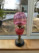 Brass Column Oil Lamp With Cranberry Font And Cranberry Shade
