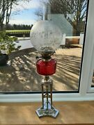 Oil Lamp Silver Plated Cranberry Font On Tripod Column
