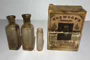 Antique Norwood's Veterinary Colic Cure Bottles In Rare Box
