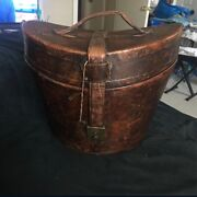 Vintage Brown Leather Hat Carrier With Lock And Key
